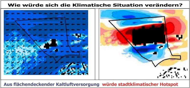 Klimawirkung der geplanten Bebauung von Kaltluftoase zum Klima-Hotspot - Aus dem Gutachten zum B-Plan 204A - als Schreenshot von  Dieter Donner