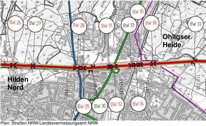 Das Bild zeigt, wie der geplante Ausbau der A3 sowohl Wohngebiete wie auch wichtige Naturschutzflächen angreift